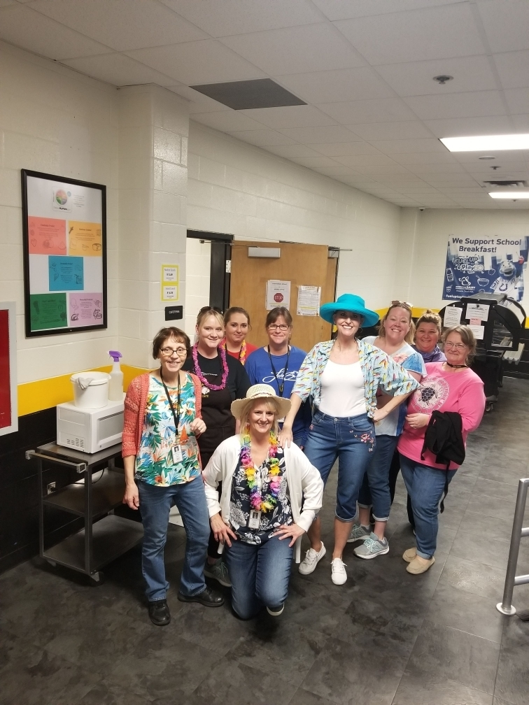 The Lunch Ladies are dressed up for Funshine Friday!